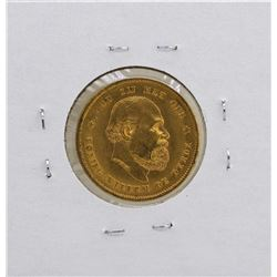 1876 Netherlands Koning William De Derde 10 Gulden Gold Coin