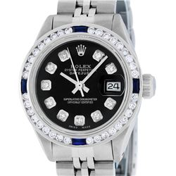 Rolex Ladies Stainless Steel Black Diamond & Channel Sapphire Datejust Wristwatc