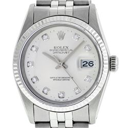 Rolex Mens Stainless Silver Diamond 36MM Datejust Wristwatch
