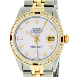 Rolex Mens 2 Tone 14K MOP Ruby Diamond Channel Set Datejust Wristwatch