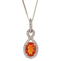 0.77 ctw Fire Opal and Diamond Pendant - 14KT Yellow Gold