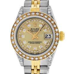 Rolex Ladies 2 Tone 14K Champagne Diamond Lugs Datejust Wristwatch