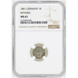 1861 Germany Kreuzer Bavaria Coin NGC MS63