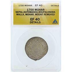 1700 Nepal Kathmandu Mohar Coin ANACS EF40 Details