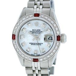Rolex Ladies Stainless Steel MOP Diamond & Ruby 26MM Datejust Wristwatch