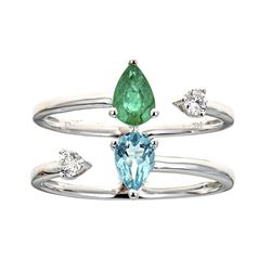 0.47 ctw Emerald and Diamond Ring - 14KT White Gold