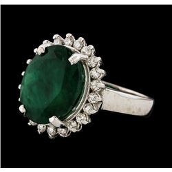 7.42 ctw Emerald and Diamond Ring - 14KT White Gold
