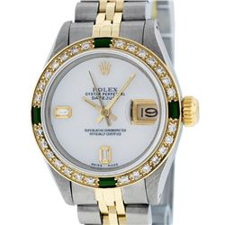 Rolex Ladies 2 Tone 14K MOP & Emerald Diamond Datejust Wriswatch