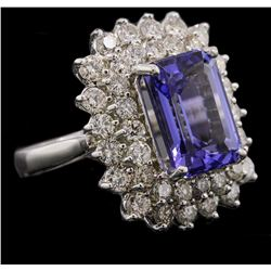 14KT White Gold 6.93 ctw Tanzanite and Diamond Ring