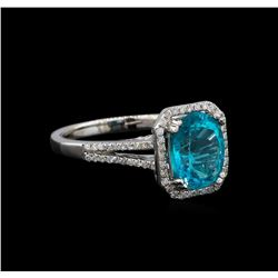 2.75 ctw Apatite and Diamond Ring - 14KT White Gold