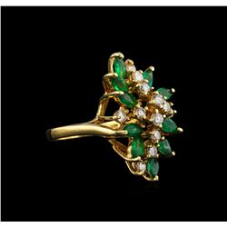 1.46 ctw Emerald and Diamond Ring - 14KT Yellow Gold