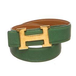 Hermes Green Leather Reversible Constance H Belt 60