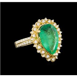 14KT Yellow Gold 3.82 ctw Emerald and Diamond Ring