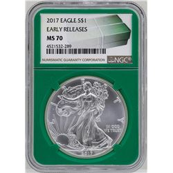 2017 $1 American Silver Eagle Coin NGC MS70 Early Releases Green Core