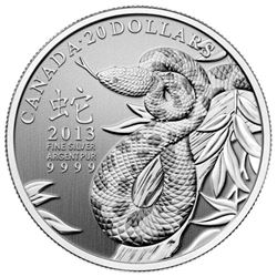 2013 $20 Year of the Snake - Pure Silver Coin