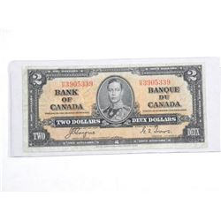 Bank of Canada 1937 - Two Dollar Note. C/T