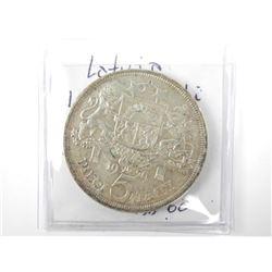 1929 Latvia 5 Lati Silver AU KM#9.