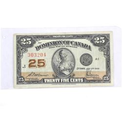 Dominion of Canada 1923 Twenty Five cent Note. 2 S