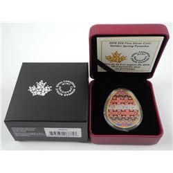 2018 $20 Fine Silver Coin Golden Spring Pysanka.