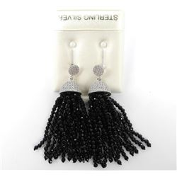 Ladies 925 Sterling Silver Drop Earrings CZ and On