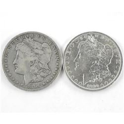Lot (2) USA Silver Morgan Dollars. 1890 and 1896