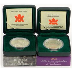 Lot (2) Proof .9999 Fine Silver Dollars: 2003 and