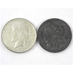 Lot (2) USA Silver Morgan and Peace Dollars. 1896-