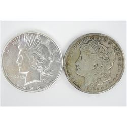 Lot (2) USA Peace and Morgan Silver Dollars - 1921