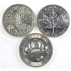 Lot (3) .9999 Fine Silver 1oz Coins Maple Leaf, Ca