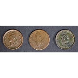 3-CIVIL WAR TOKENS CIRC CONDITION