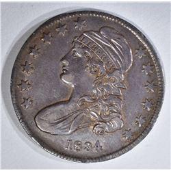 1834 BUST HALF DOLLAR, AU+