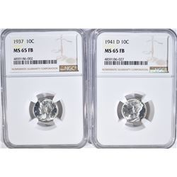 1937 & 41-D MERCURY DIMES, NGC MS-65 FB