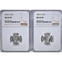 2-1941-D MERCURY DIMES, NGC MS-65 FB