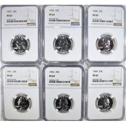 1957, 59, 60, 61, 63 & 64 WASH. QUARTERS, NGC PF-6