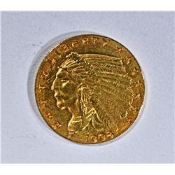 1908 $2.50 GOLD INDIAN, AU/UNC