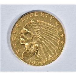 1909 $2.50 GOLD INDIAN, AU/UNC