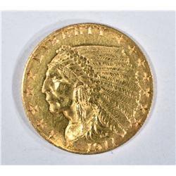 1911 $2.50 GOLD INDIAN, AU/UNC