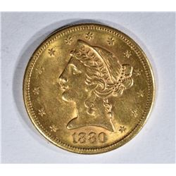 1880-S $5.00 GOLD LIBERTY, BU