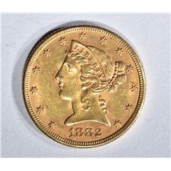 1882 $5.00 GOLD LIBERTY, BU