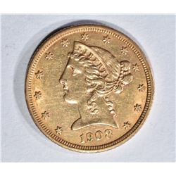 1908 $5.00 GOLD LIBERTY, AU