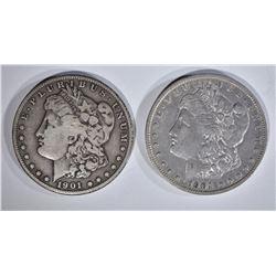 1901 VG & 01-S VF MORGAN DOLLARS