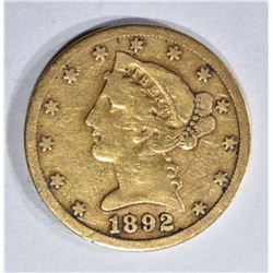 1892-S $5.00 LIBERTY GOLD, VF