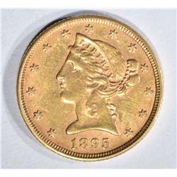 1895 $5.00 GOLD LIBERTY, AU