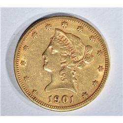 1901-S $10.00 GOLD LIBERTY, XF+