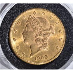 1900-S $20.00 GOLD LIBERTY, CH BU+