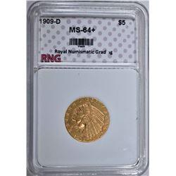 1909-D $5.00 GOLD INDIAN HEAD  RNG CH BU+