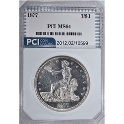 1877 TRADE DOLLAR  PCI CH BU