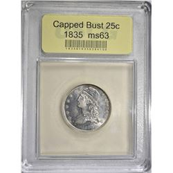 1835 CAPPED BUST QUARTER  CH BU