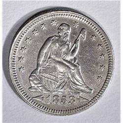 1853 SEATED LIBERTY QUARTER ARROWS & RAYS  AU/BU