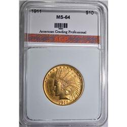 1911 $10.00 GOLD INDIAN HEAD  AGP CH BU